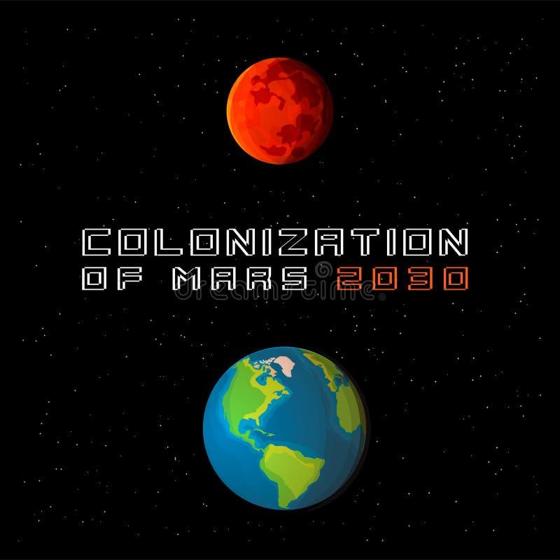 火星行星殖民化例证 地球和火星在详细的动画片样式 向量例证