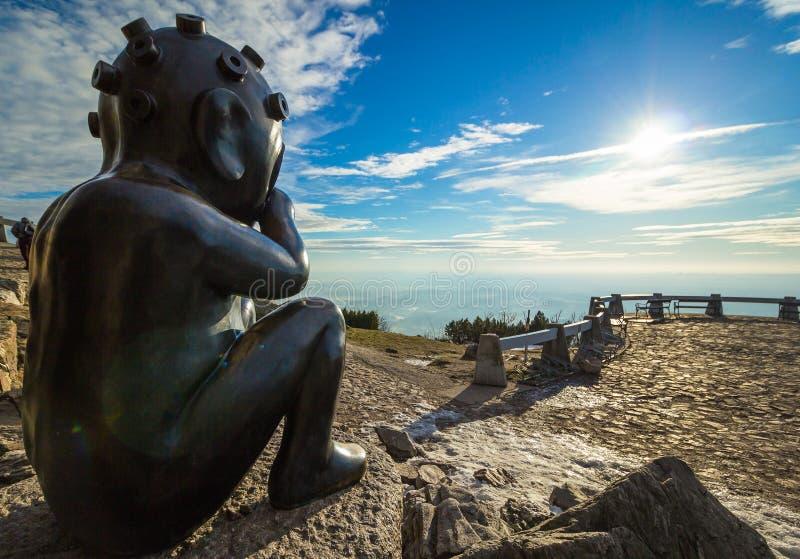从火星雕塑,说笑话的山风景,利贝雷茨,捷克哄骗 免版税库存照片
