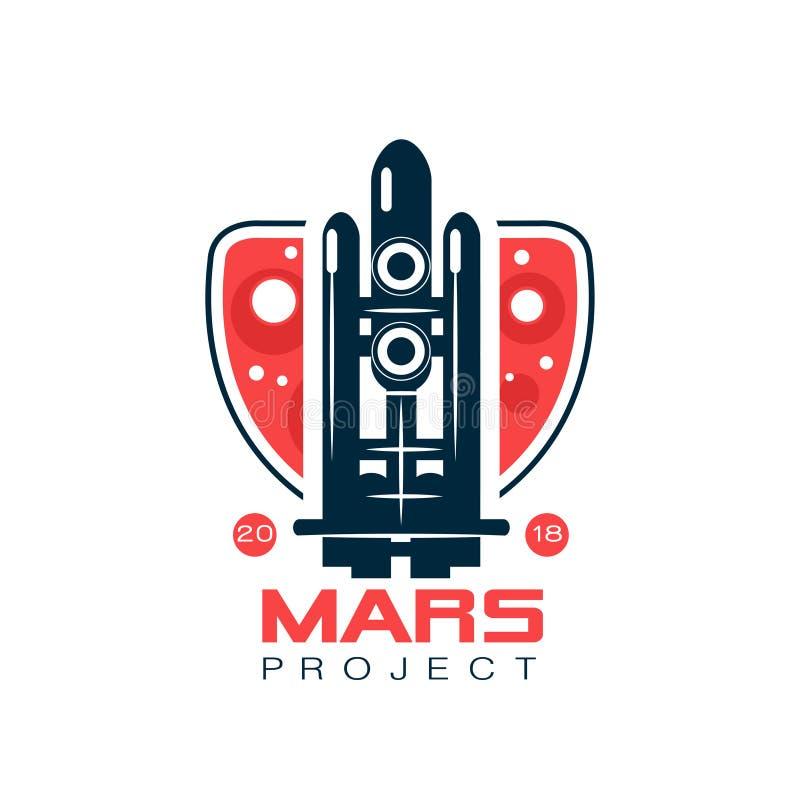 火星项目的商标与飞行火箭的抽象图象 在线型的航天飞机与深蓝和红颜色 皇族释放例证