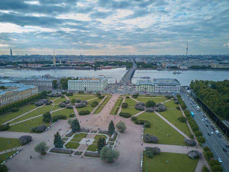 火星,圣彼得堡,俄罗斯的领域的鸟瞰图 免版税库存图片