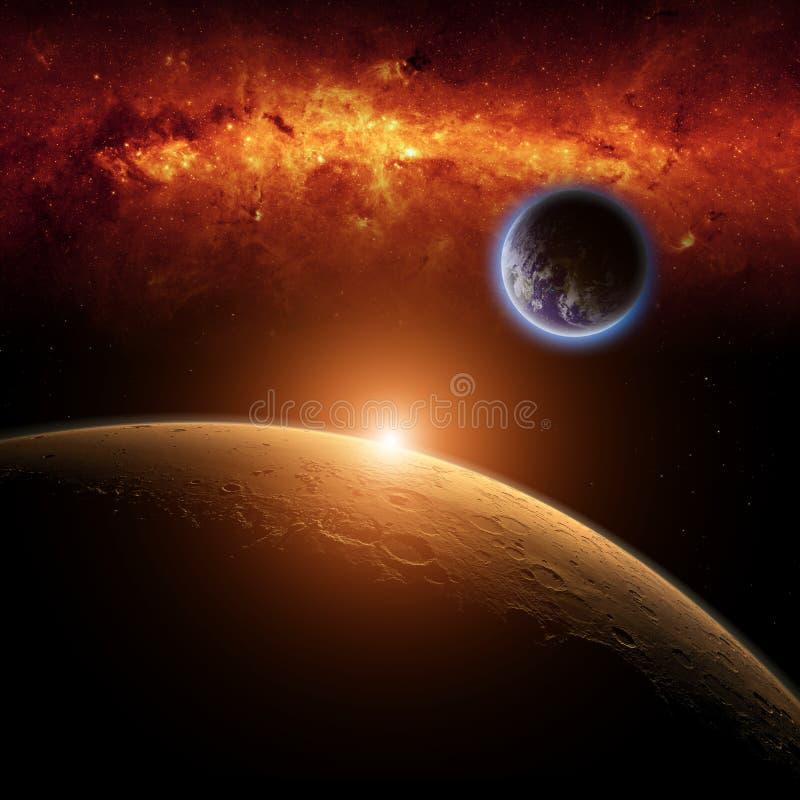 火星,地球 库存图片