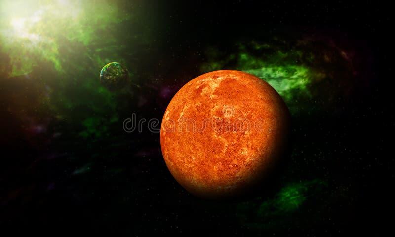 火星从显示所有他们的空间射击了秀丽 极端deta 向量例证
