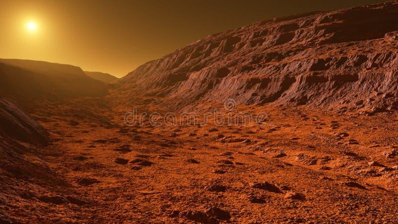 火星-红色行星-与山的风景与sedimentar 向量例证