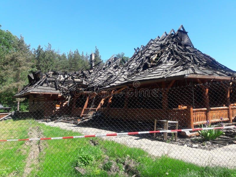 火案件arsony在阿尔巴尼美国 免版税库存照片