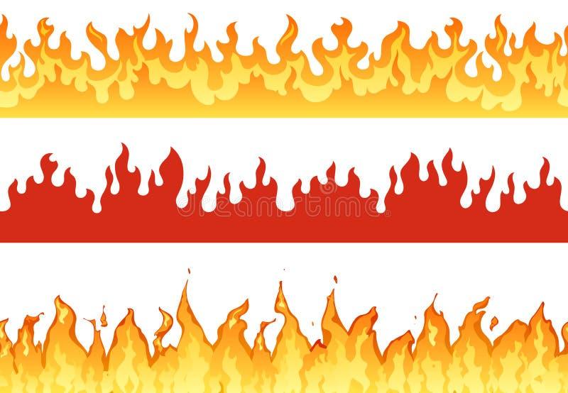 火横幅 火焰边界燃烧的剪影或永恒火焰 地狱发火焰横幅例证集合 库存例证