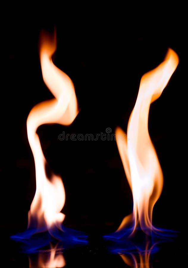 火火焰与反射 库存照片