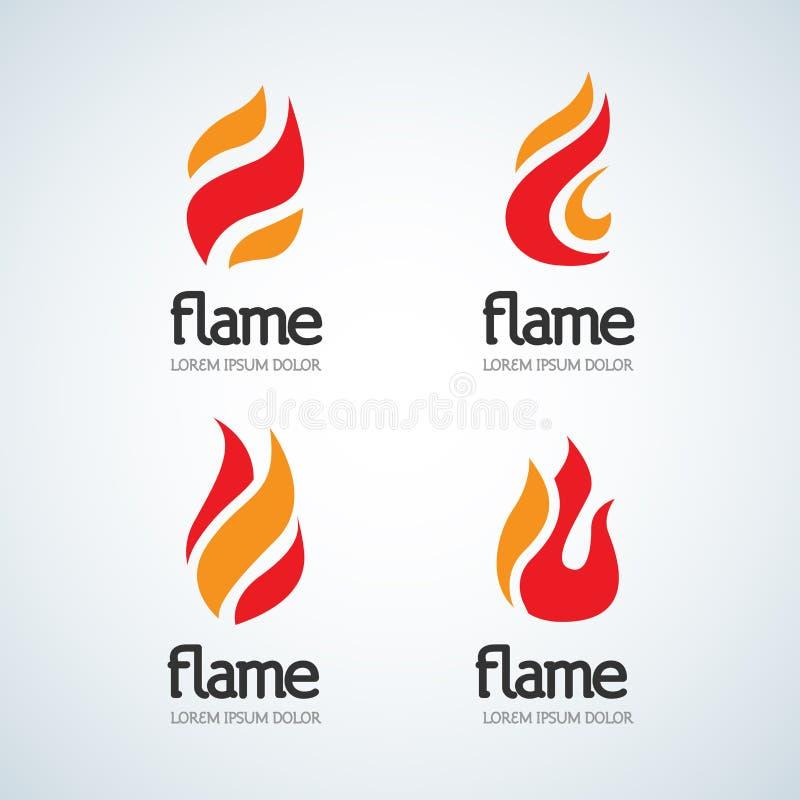 火火焰商标设计模板下落剪影集合 创造性的小滴烧伤典雅的篝火略写法火商标概念 皇族释放例证