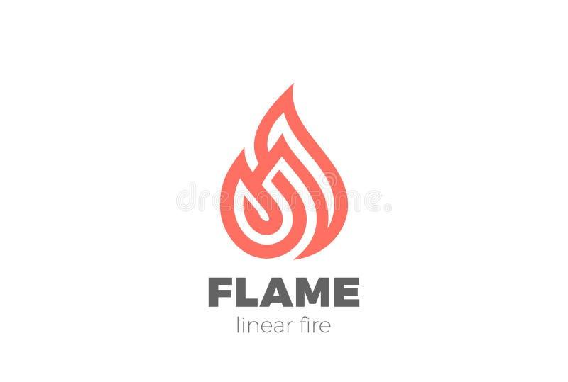 火火焰小滴商标线性设计的传染媒介 Luxu 向量例证