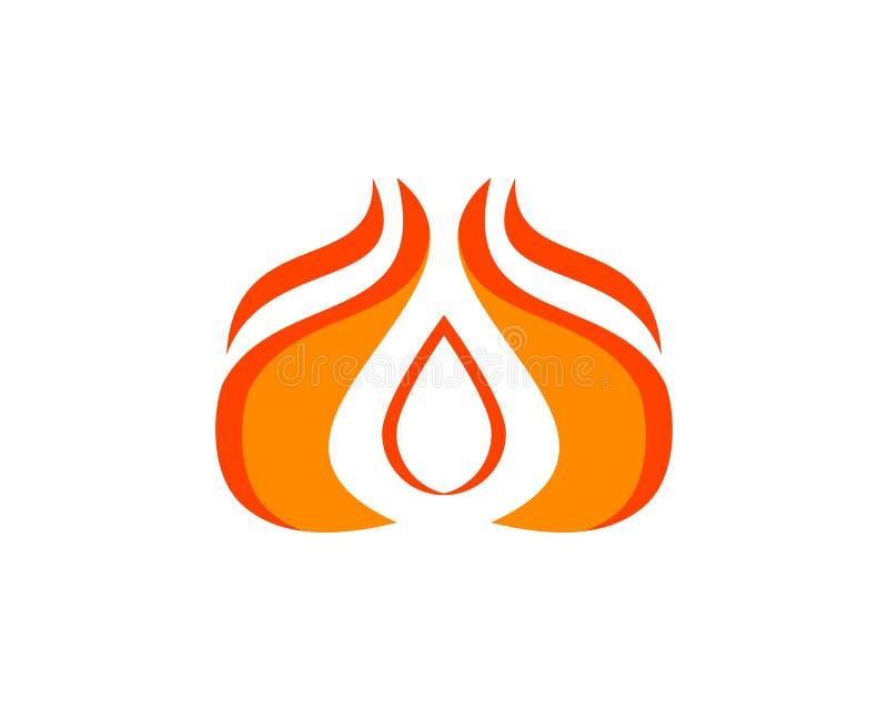 火火焰小滴形状商标设计传染媒介模板 向量例证