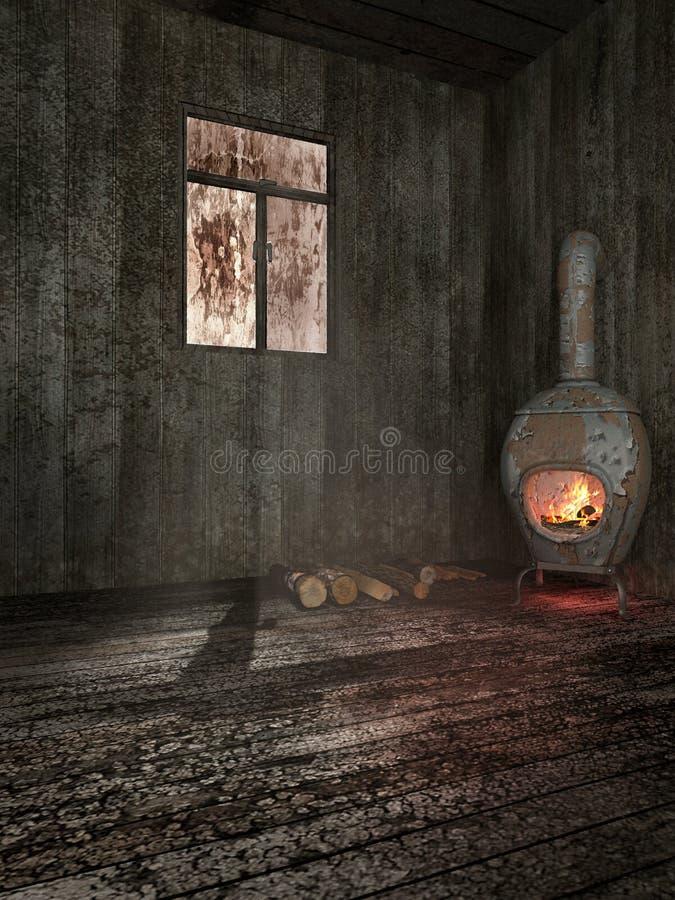 火炉在老棚子 向量例证