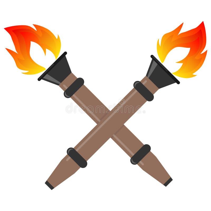 火炬,与火的现实火炬 两个火炬 库存例证
