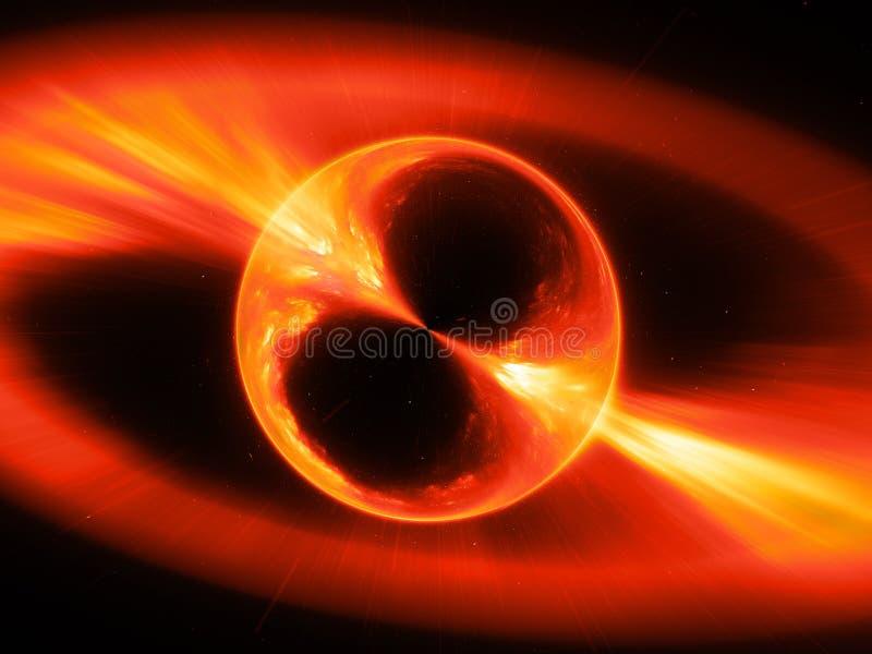 火热的mysterios在空间伽马射线爆炸反对 向量例证