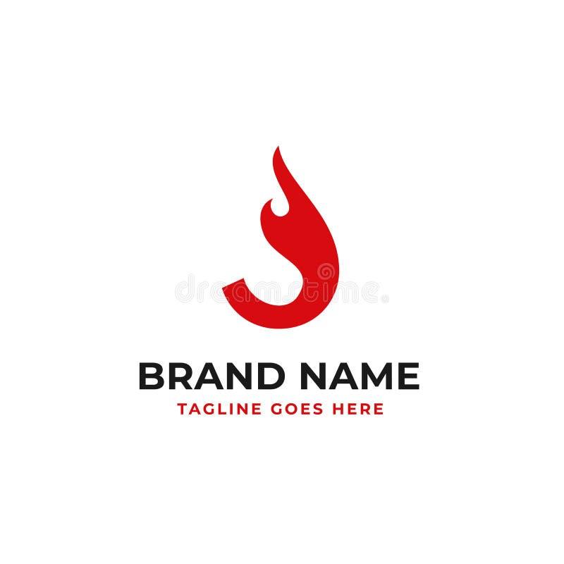 火焰信件J最初的商标设计传染媒介的例证概念 向量例证