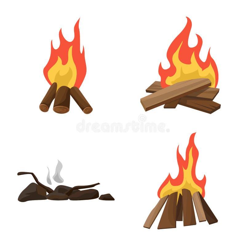 火焰和火商标被隔绝的对象  设置火焰和阵营股票的传染媒介象 库存例证