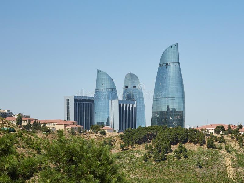 火焰塔,巴库,阿塞拜疆 免版税库存照片