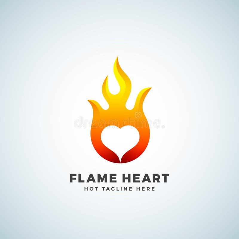 火焰心脏摘要传染媒介标志、标志或者商标模板 消极空间象征概念 向量例证