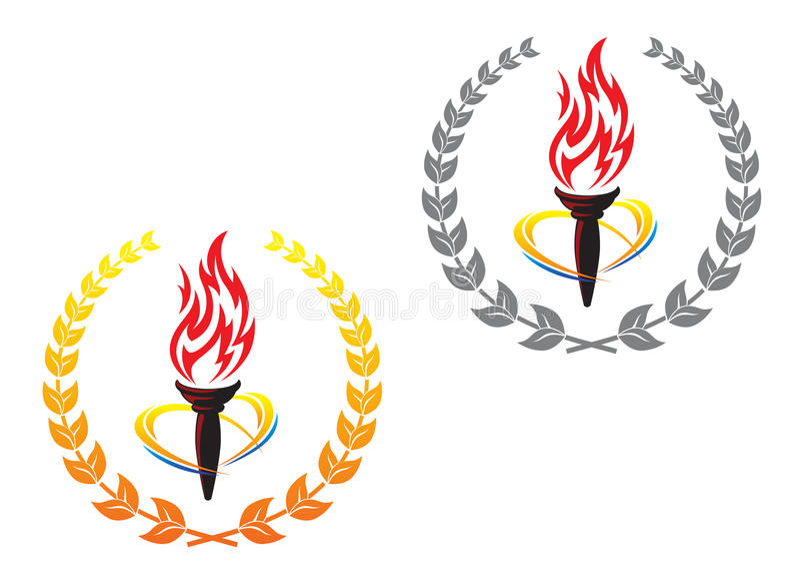 火焰状月桂树火炬缠绕 皇族释放例证