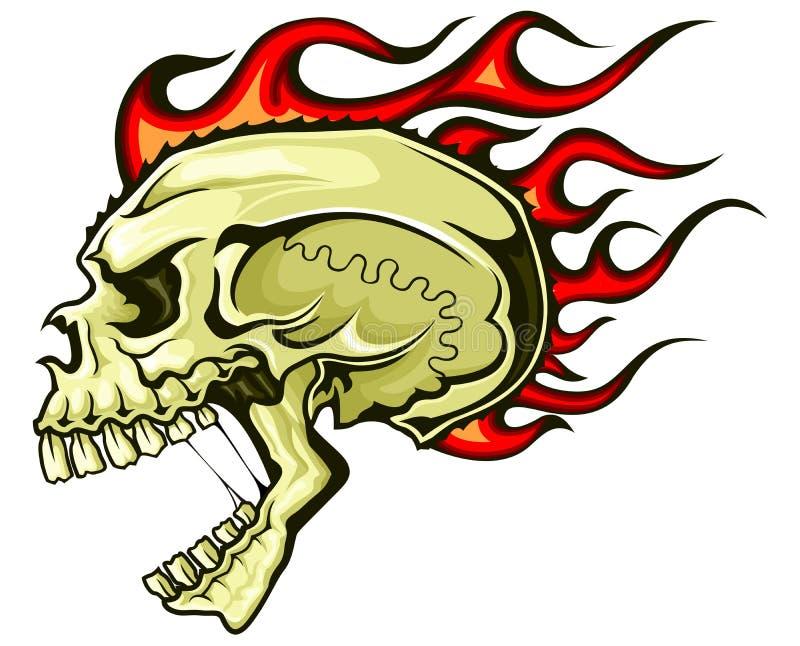 火焰状头发头骨 向量例证