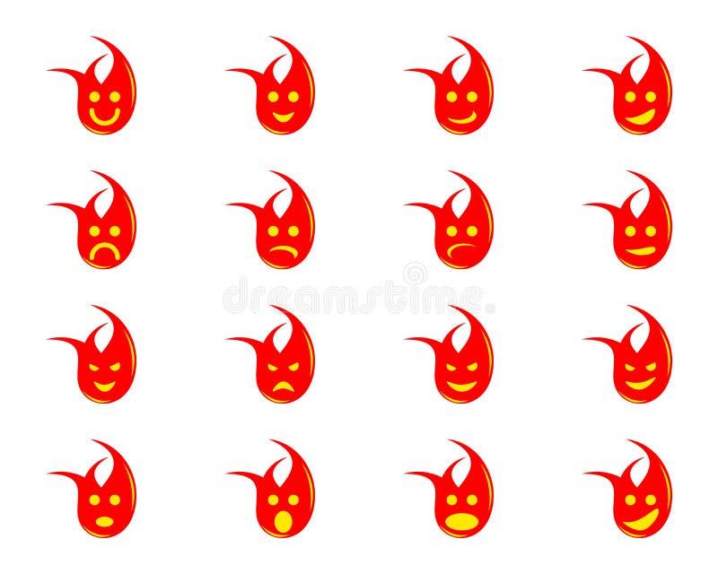 火焰表情符号的一组不同表达式 皇族释放例证