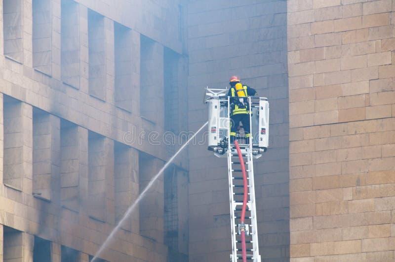 火的消防队员 库存照片