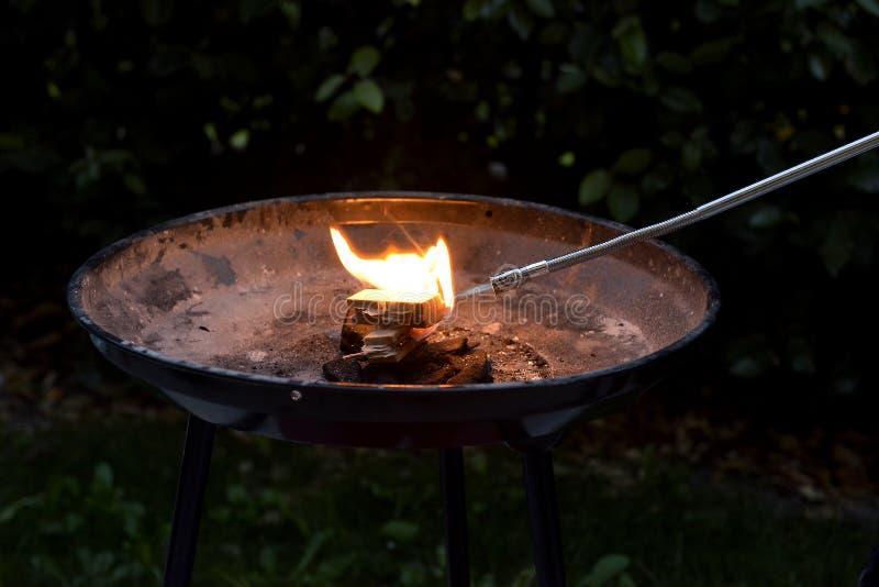 火的燃烧与瓦斯灯的 库存照片