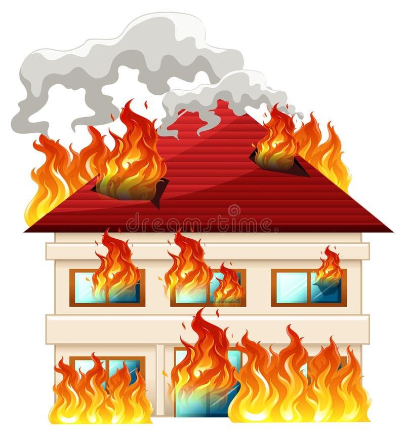 火的被隔绝的房子 向量例证