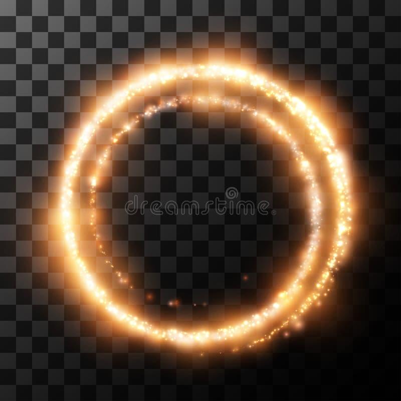 从火的轻的圈子在透明 也corel凹道例证向量 库存例证