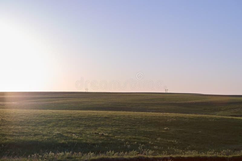 火石小山,在日出的堪萨斯风景 免版税库存照片
