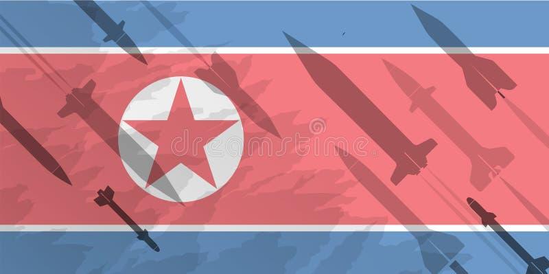 火箭剪影以北朝鲜的旗子的为背景 军事背景 冲突在亚洲上 向量例证