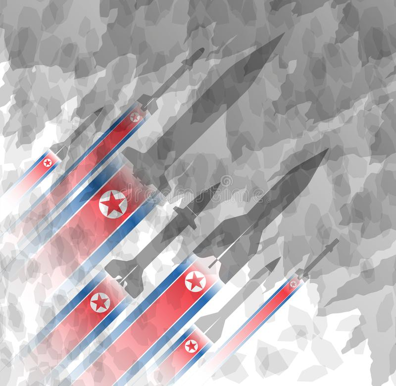 火箭剪影以北朝鲜的旗子的为背景 军事背景 冲突在亚洲上 皇族释放例证