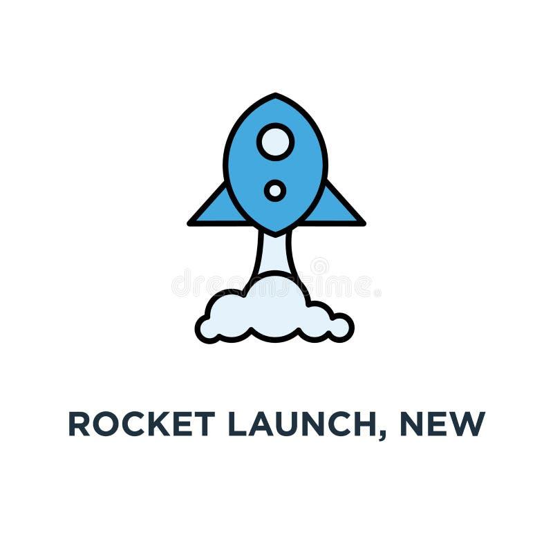 火箭发射,新的想法,交易起步发射,项目起动象,发展的标志和发行一个新的创新产品 向量例证
