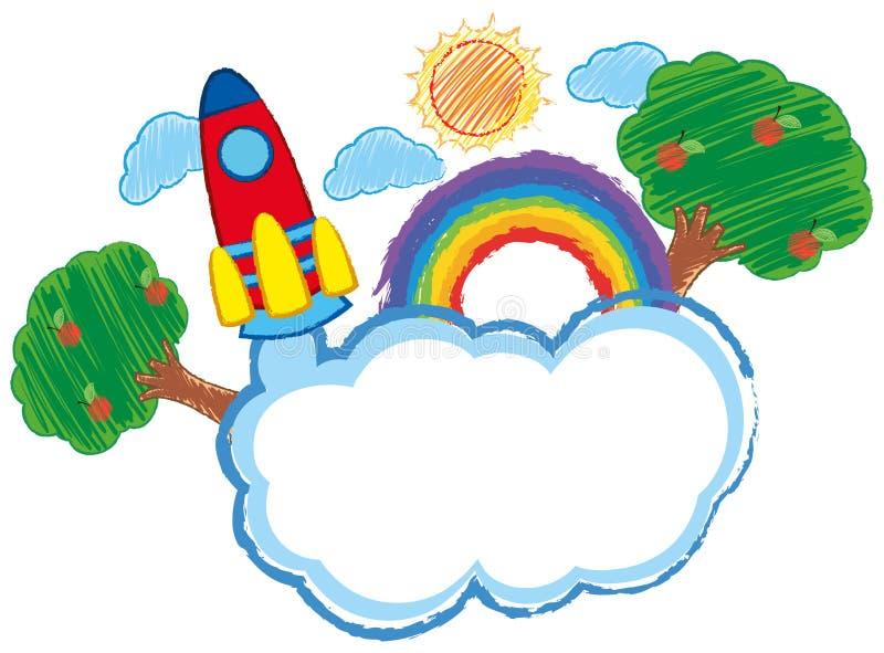 火箭和云彩的乱画艺术 向量例证