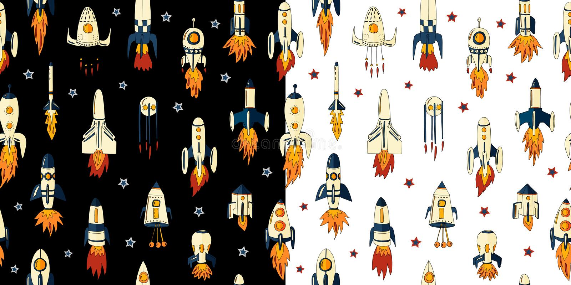 火箭的一个无缝的样式的传染媒介例证在空间的在星中 在空间的火箭队与不同的形状星  库存例证