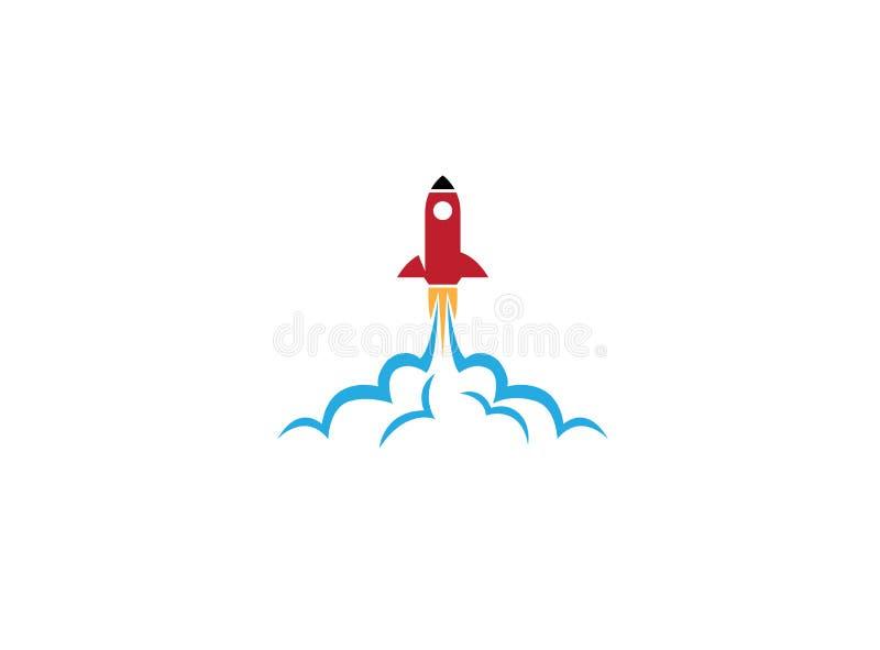 火箭的发射留下商标设计例证的重的尘土 库存例证