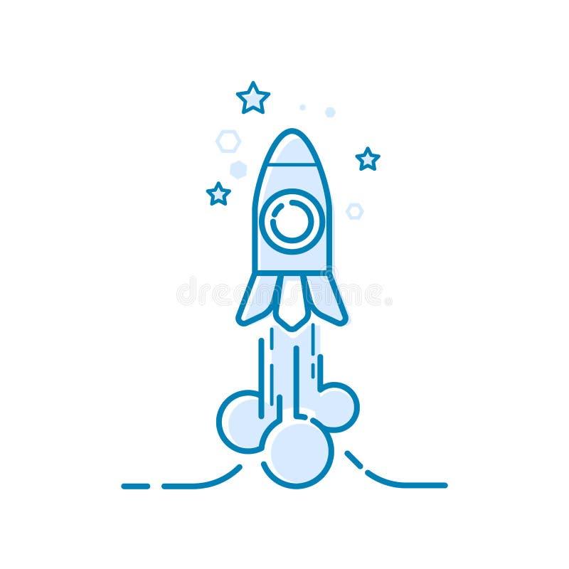 火箭起初离开 稀薄的线成功的,奖,成就,顶面成功的元素设计观念 皇族释放例证