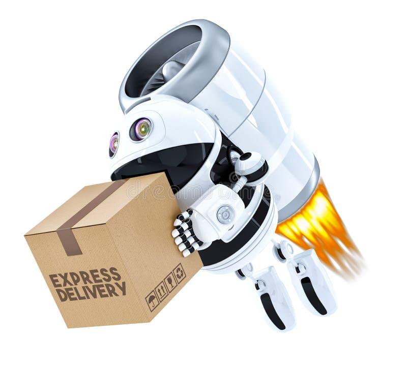 火箭队交付与包裹的机器人飞行 包含分类 皇族释放例证