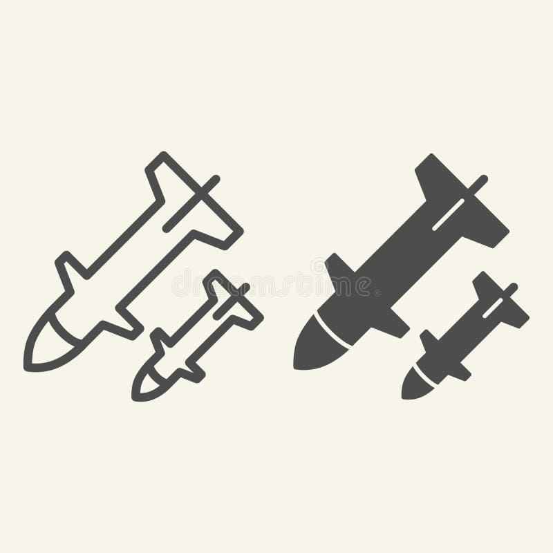 火箭队发射线和纵的沟纹象 武器在白色隔绝的传染媒介例证 导弹概述样式设计,被设计 库存例证