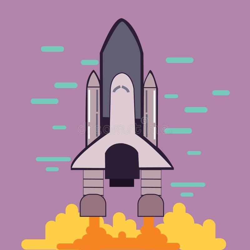 火箭队发射航天飞机离开平的线型例证