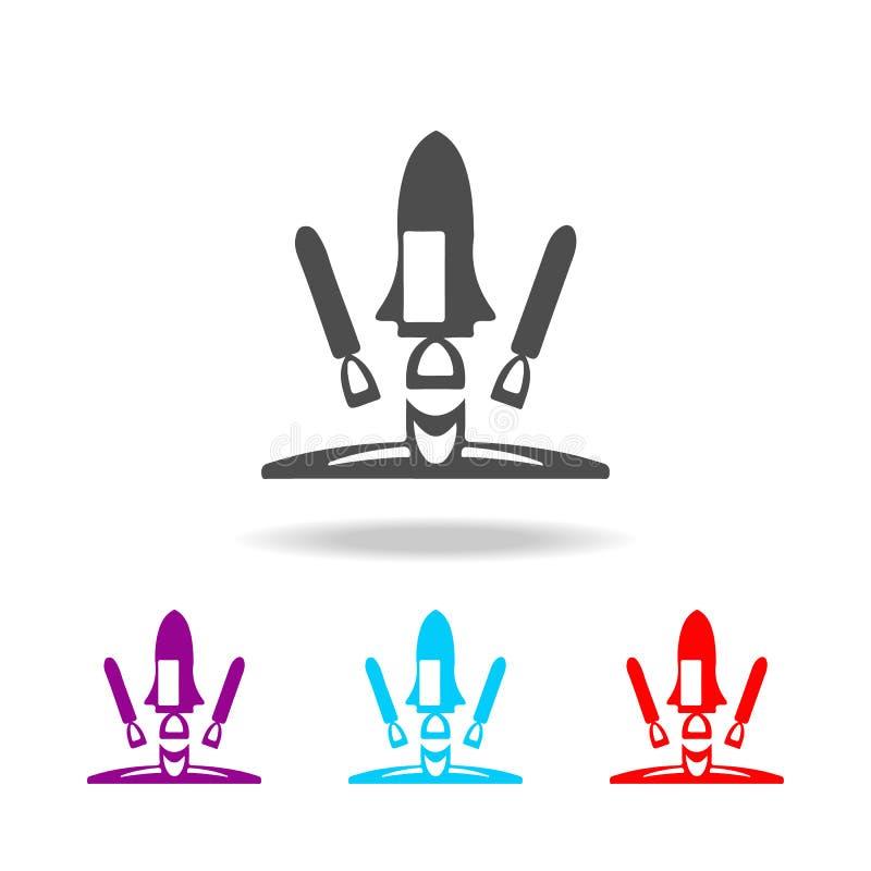 火箭队发射象 空间的元素在多色的象的 优质质量图形设计象 网站的简单的象,网d 库存例证