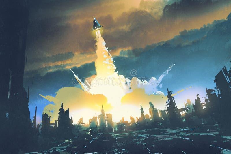 火箭队发射从一个被放弃的城市,科学幻想小说概念离开 向量例证
