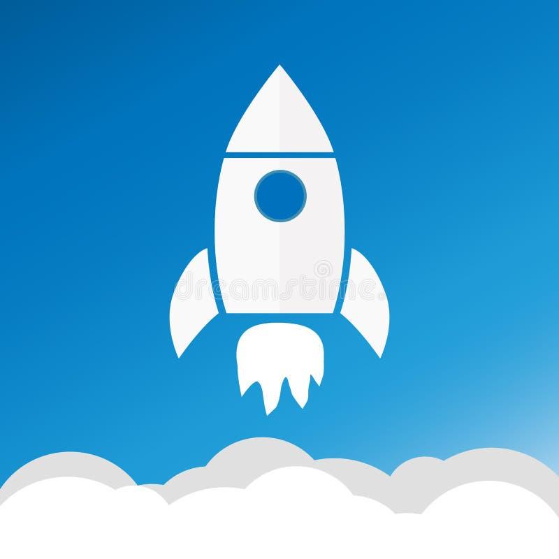 火箭队和白色云彩,在平的样式的圈子象,概念性  免版税库存照片