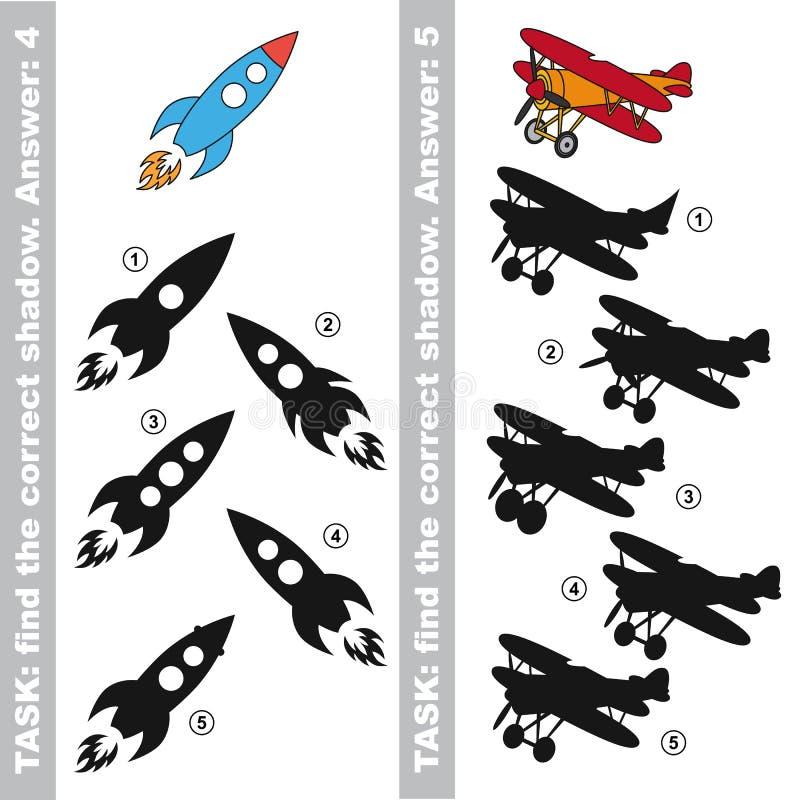 火箭队和飞机 发现真实的正确阴影 皇族释放例证