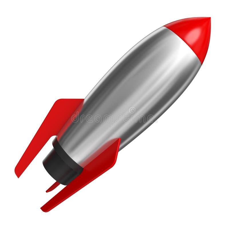 火箭队太空船,隔绝在白色 3d翻译 皇族释放例证