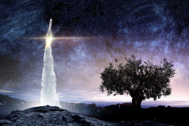 火箭队太空船 混合画法 库存图片