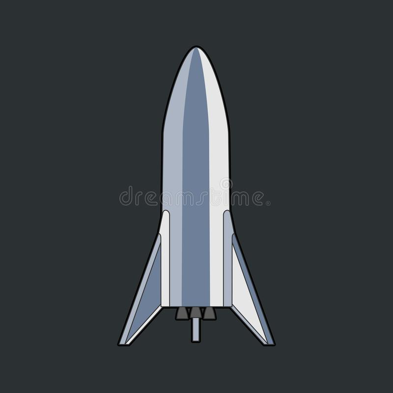 火箭队太空飞船被隔绝的传染媒介减速火箭的样式例证 传染媒介在网的深黑色背景隔绝的动画片太空飞船 皇族释放例证