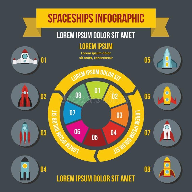 火箭队太空飞船infographic概念,平的样式 皇族释放例证