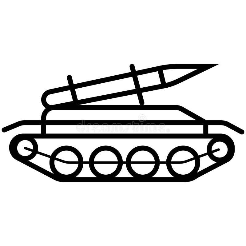 火箭队导弹在白色在时髦平的样式的坦克象隔绝的 库存例证