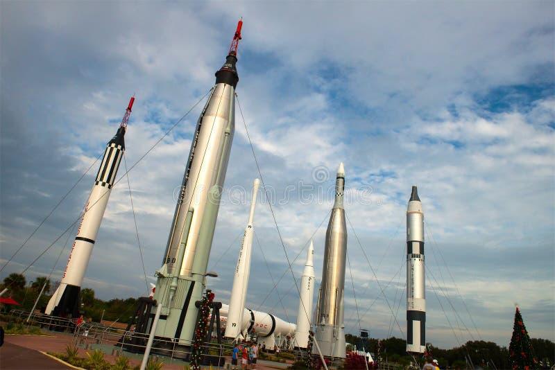 火箭队庭院,美国航空航天局肯尼迪航天中心 免版税库存图片