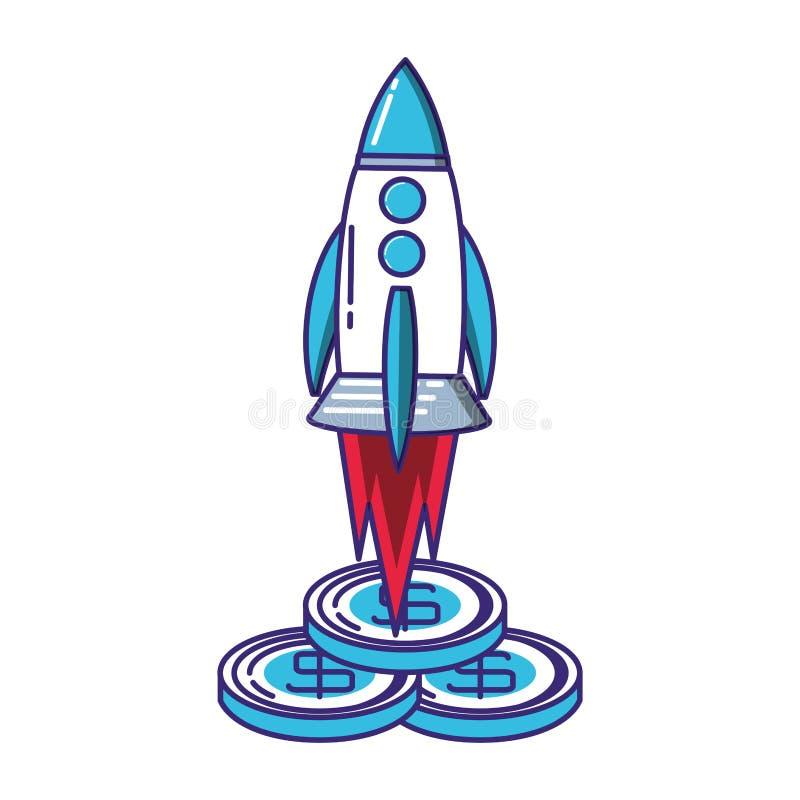 火箭队开始工作以硬币 向量例证