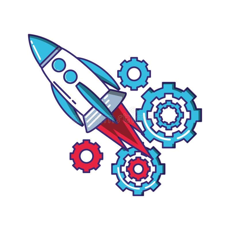 火箭队开始工作以齿轮 库存例证